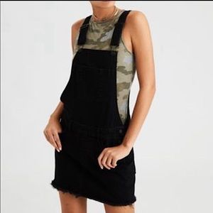 American Eagle Black Corduroy Overall Skirt